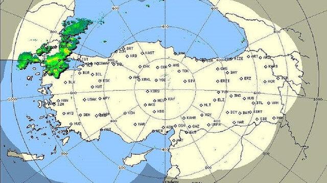 Meteoroloji'nin radar ekran görüntüsü