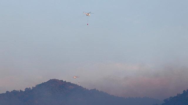 Dalaman'daki yangına havadan müdahale