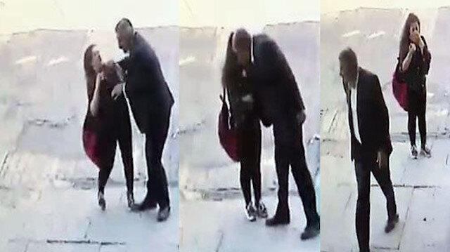 Tacizci adamın küçük kızı zorla öptüğü anlar güvenlik kamerasına yansıdı.