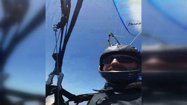 Paraşütçünün yere çakıldığı anlar telefon kamerasına yansıdı