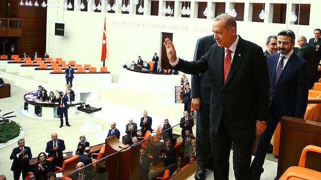 Cumhurbaşkanı Erdoğan TBMM'de. Fotoğraf: Arşiv.