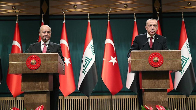 Irak Cumhurbaşkanı Berham Salih ve Cumhurbaşkanı Recep Tayyip Erdoğan.