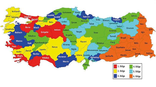 Bölgelere göre ayrılmış yatırım teşvik haritası.