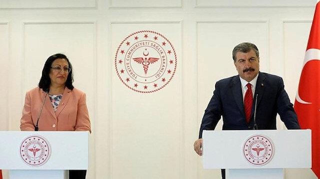 Bahreyn Krallığı Sağlık Bakanı Faika Said El Saleh ile Sağlık Bakanı Fahrettin Koca