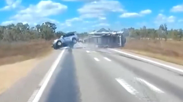 Feci karavan kazası kamerada