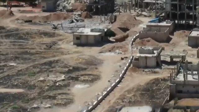 Terör örgütünün Fıratın doğusunda inşa ettiği beton bloklar görüntülendi