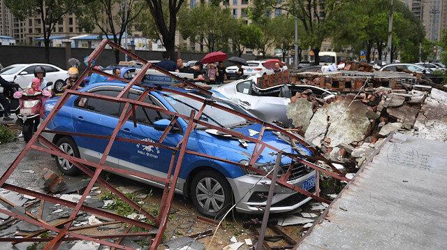 Cars are damaged after typhoon Lekima made landfall in Wenling, Zhejiang province, China