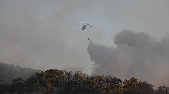 Eskişehir'deki orman yangınını söndürme çalışmaları sürüyor.