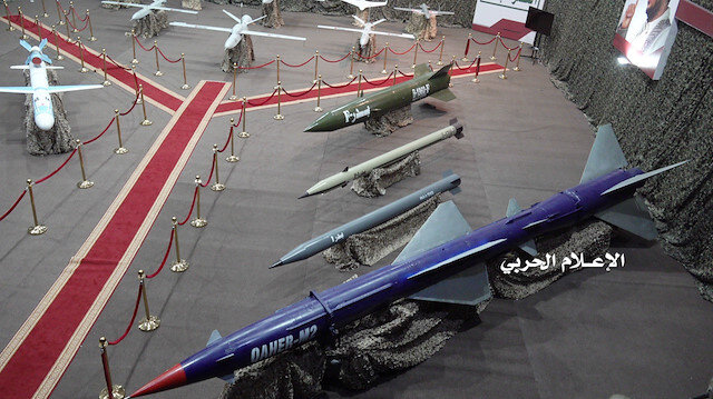 Missiles and drone aircrafts are put on display at an exhibition at an unidentified location in Yemen in this undated handout photo released by the Houthi Media Office July 9, 2019. Houthi Media Office/