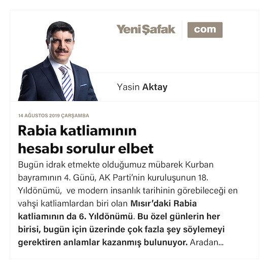 Rabia katliamının hesabı sorulur elbet