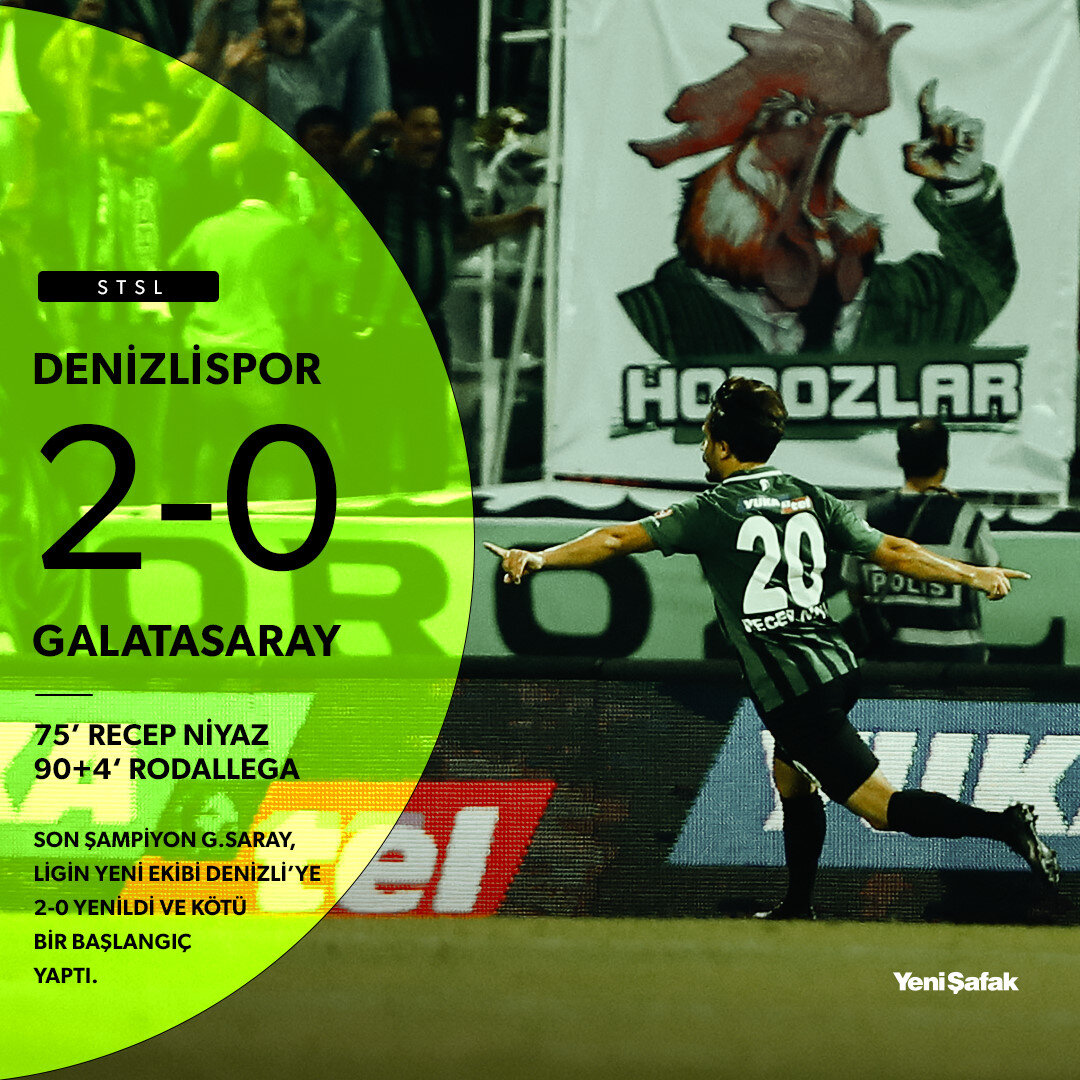 Süper Lig'in yeni ekibi Denizlispor, ilk maçında son şampiyon Galatasaray'ı 2-0 yendi.