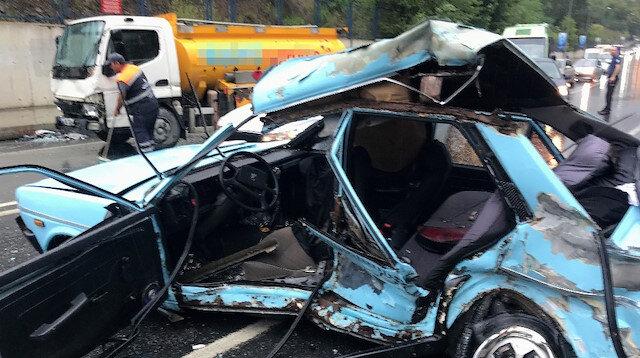 Sağanak yağış sonrası Maslak'ta feci kaza