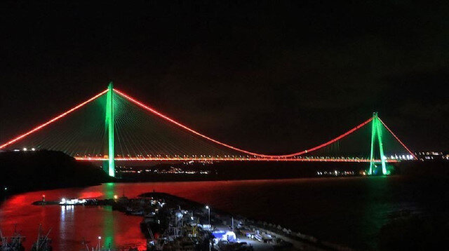 Fatih Sultan Selim Bridge spanning the Bosphorus, Istanbul.