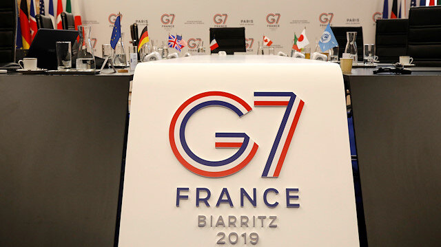 The logo of the upcoming August 2019 G7 Summit in Biarritz is seen during the Interior ministers of G7 nations meeting in Paris, France, April 5, 2019.
