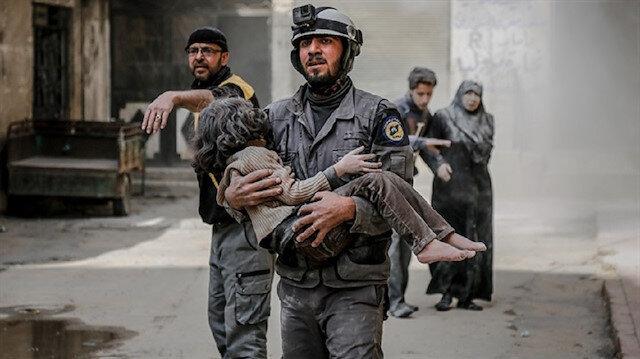 Bombardımanda yaralanan çocuklar.