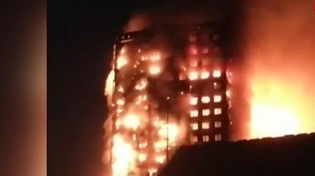 Londra'da 24 katlı bina alevlere teslim oldu