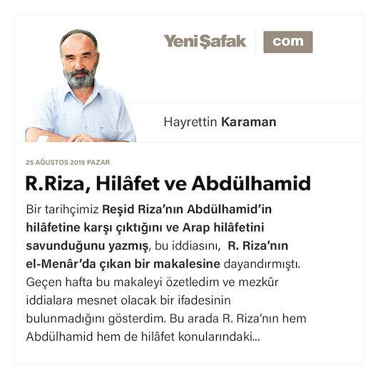 R.Riza, Hilâfet ve Abdülhamid