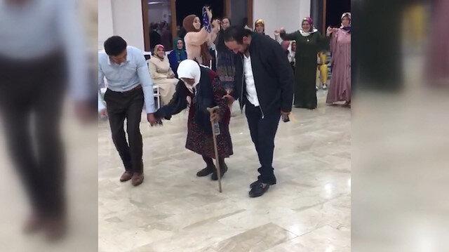 105 yaşındaki Sabayi Nine torununun düğününde halay çekti