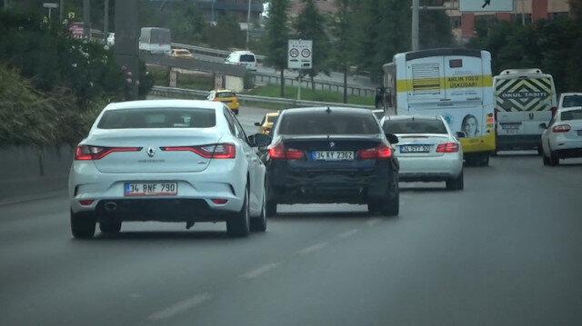 Makas atarak ilerleyen trafik magandası kamerada