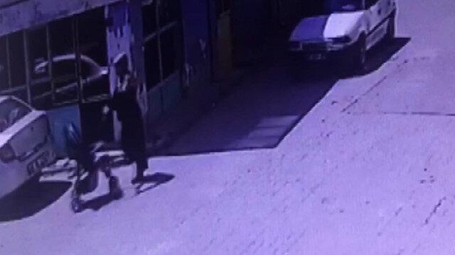 Bebek arabası hırsızı kamerada
