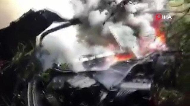Uçurumdan yuvarlanan kamyon alev alev yandı