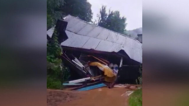 Şiddetli yağış sonrası oluşan heyelanda bir ev yıkıldı: 1 yaralı