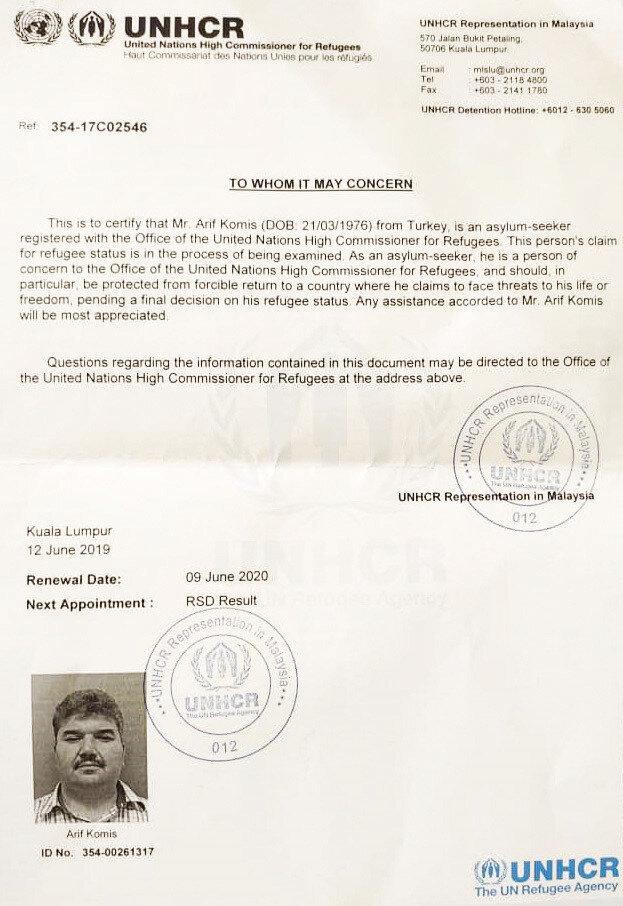 Arif Komis'in Birleşmiş Milletler Yüksek Komiserliği'ne sığınma talebinde bulunduğu ortaya çıktı.
