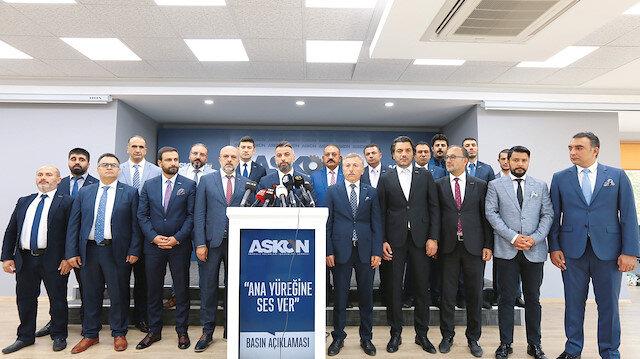 ASKON Başkanı Orhan Aydın mikrofonlara konuştu.