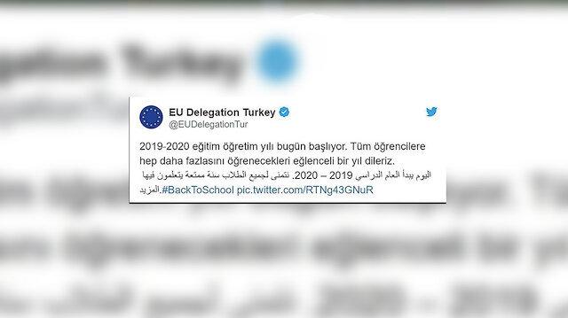 AB Türkiye Delegasyonu tarafından paylaşılan mesaj