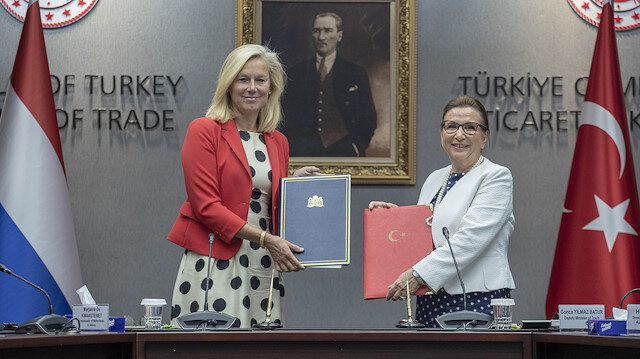 Turkey's Ruhsar Pekcan and Sigrid Kaag of The Netherlands