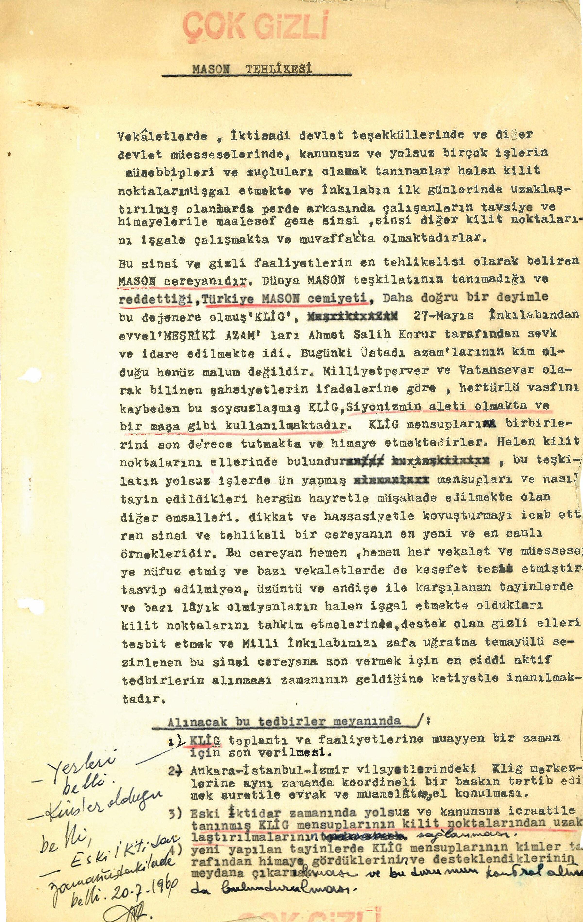 """Türkiye farklı isimler altındaki mason kuruluşları ve masonik örgüt FETÖ'nün """"devlete sızma"""" girişimleriyle mücadele ederken 1960 yılında kaleme alınan 2 ayrı istihbarat raporu ortaya çıktı. Milli Birlik Komitesi'ne de sunulan raporlarda bugün olduğu gibi """"bakanlıklar ve kamu kurumlarının"""" sinsi sinsi işgal edilmek istendiği ifade ediliyor."""