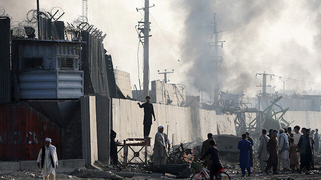 Smoke rises from the location of a blast near the U.S. embassy in Kabul, Afghanistan
