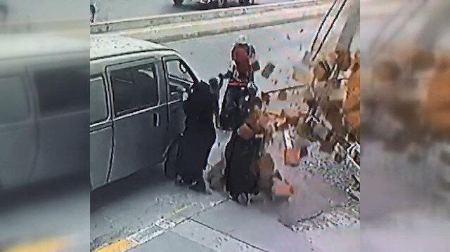 İnşaattaki tuğlalar kadının üzerine böyle düştü