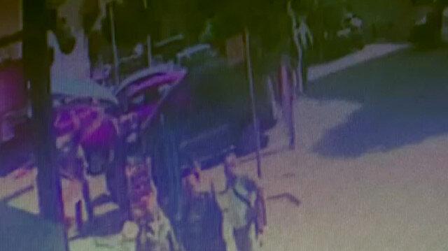 İki grup arasında yan baktın kavgası kamerada