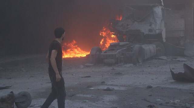 Syrian government artillery pounds south Idlib