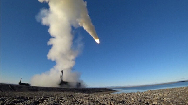 A still image taken from a video footage and released by Russia's Defence Ministry