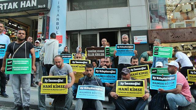 İBB'nin kovduğu işçiler CHP binası önünde eyleme başladı