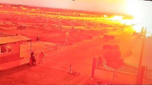 Çobanbey'de TIR'la yapılan terör saldırısı kamerada