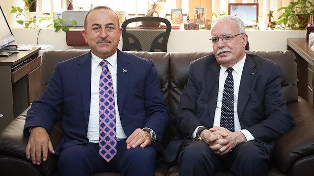 Turkey's Foreign Minister Mevlüt Çavuşoğlu & his Palestinian counterpart Riad al-Malki
