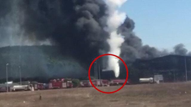 Tuzla'da patlayan tankın itfaiye aracının üzerine düşme anı kamerada