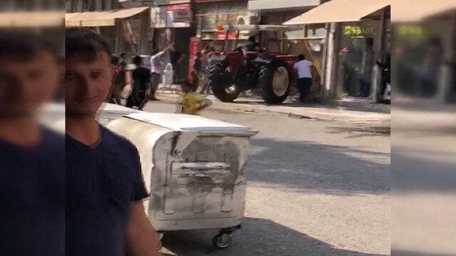 Traktörle husumetli olduğu kişinin iş yerine daldı