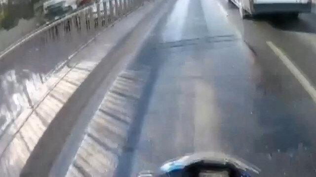 Motosikletli gencin metrelerce sürüklendiği kaza kamerada