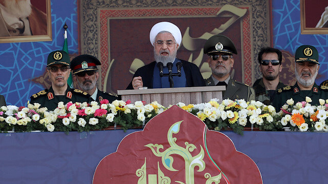 Iranian President Hassan Rouhani delivers a speech during the ceremony of the National Army Day parade in Tehran, Iran September 22, 2019. WANA (West Asia News Agency) via REUTERS ATTENTION EDITORS - THIS IMAGE HAS BEEN SUPPLIED BY A THIRD PARTY