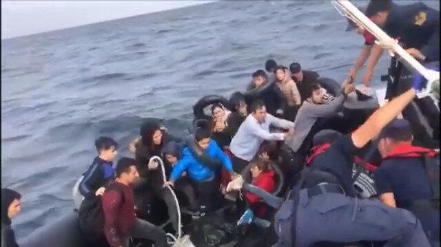 Göçmenlerin kurtarılış anı.