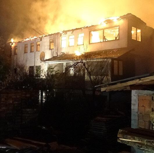 3 katlı ev alev alev yandı