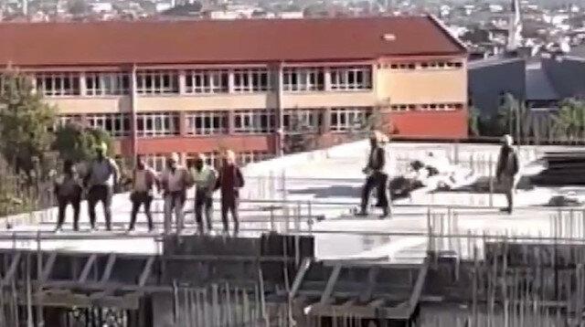 İşçiler inşaatın tepesinde böyle halay çekti