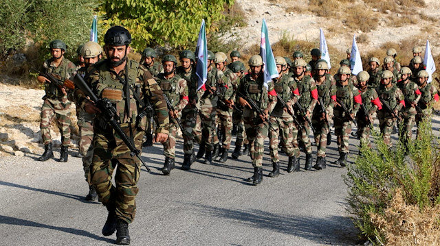 Free Syrian Army's military drill in Aleppo