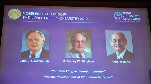 "A screen displays the portraits of the laureates of the 2019 Nobel Prize in Chemistry (L-R) John B. Goodenough, M. Stanley Whittingham, and Akira Yoshino ""for the development of lithium-ion batteries"" during a news conference at the Royal Swedish Academy of Sciences in Stockholm, Sweden, October 9, 2019"