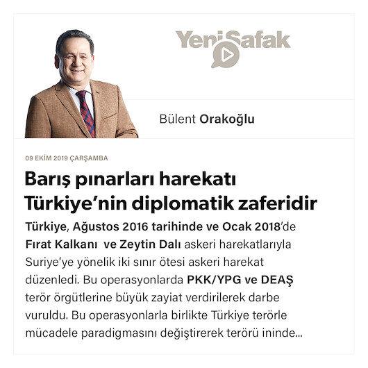 Barış pınarları harekatı Türkiyenin diplomatik zaferidir