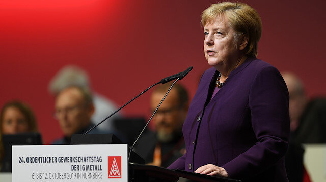 German Chancellor Angela Merkel speaks to delegates of Germany's largest industrial union IG Metall during the trade union congress in Nuremberg, Germany October 10, 2019. REUTERS/Andreas Gebert